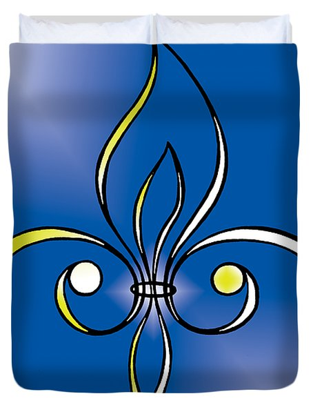 Fleur De Lis In Gold Duvet Cover