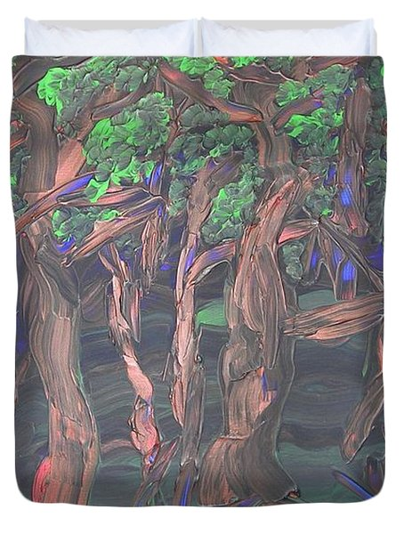 Duvet Cover featuring the painting Forest by Joshua Redman