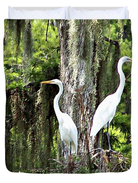 Great White Egrets Duvet Cover