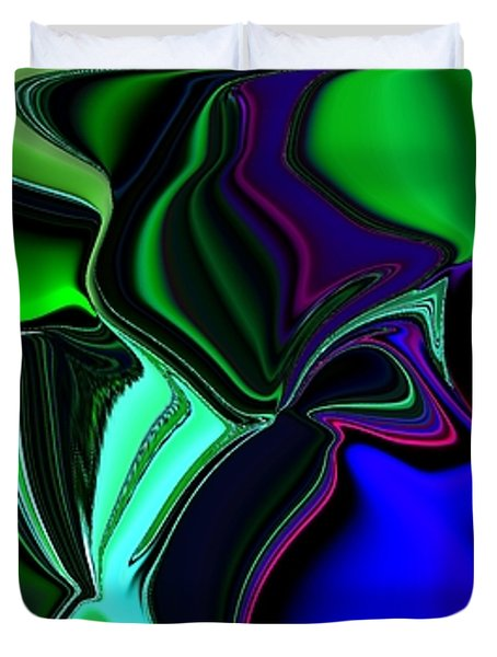 Green Nite Distortions 4 Duvet Cover