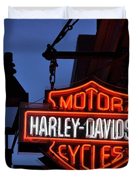 Harley Davidson New Orleans Duvet Cover by Bill Cannon