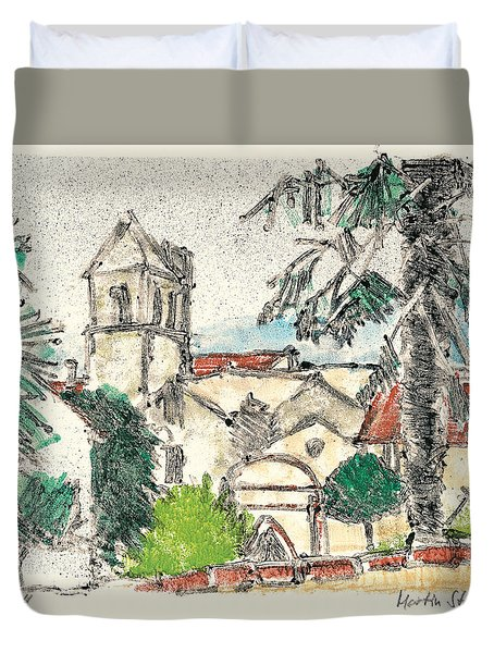 Duvet Cover featuring the painting Herepian Village In Provence by Martin Stankewitz