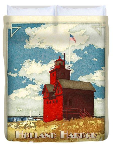 Holland Harbor Lighthouse Duvet Cover by Antoinette Houtman