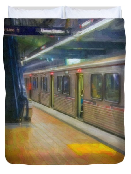 Duvet Cover featuring the photograph Hollywood Subway Station by David Zanzinger