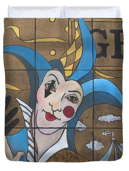 Jester In Blue Duvet Cover by Susanne Clark