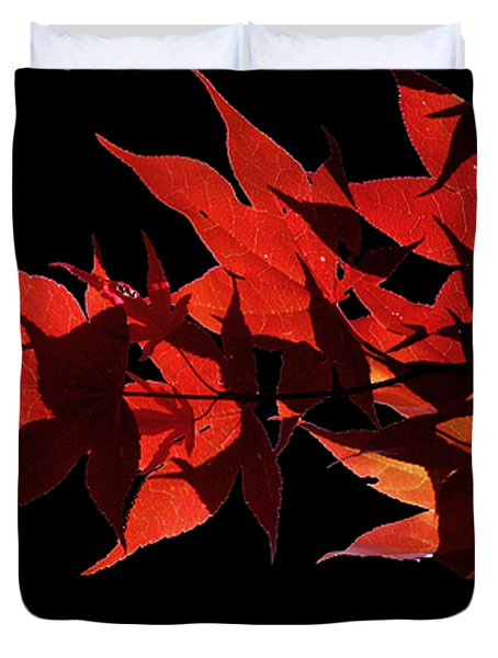 Leaves Of Red Duvet Cover by Heather Applegate