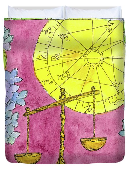 Duvet Cover featuring the painting Libra by Cathie Richardson