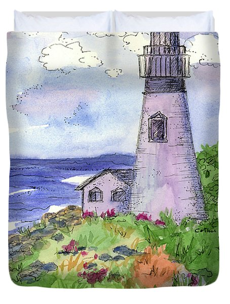 Duvet Cover featuring the painting Lighthouse In Summer  by Cathie Richardson