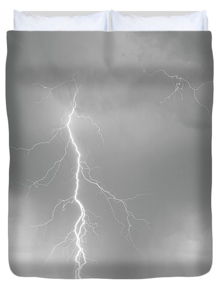 Lightning Strike Colorado Rocky Mountain Foothills Bw Duvet Cover by James BO  Insogna