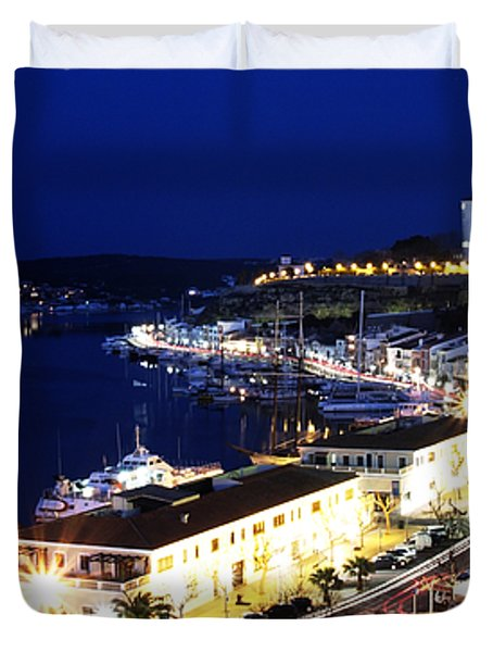 Duvet Cover featuring the photograph Mahon Harbour At Night by Pedro Cardona