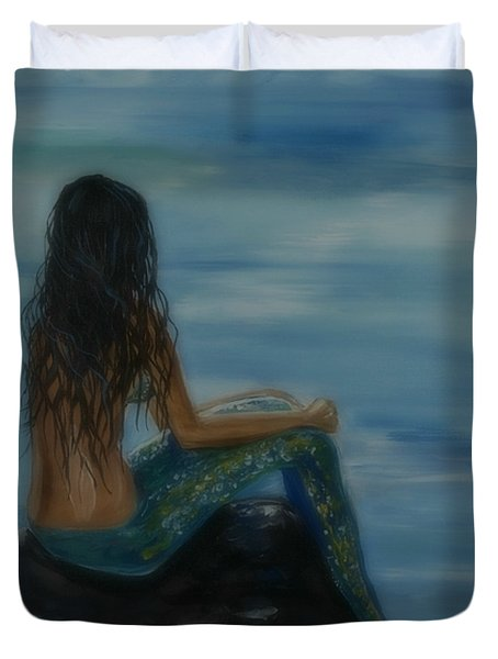 Mermaid Mist Duvet Cover by Leslie Allen