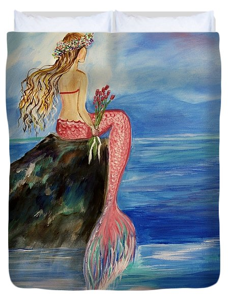 Mermaid Wishes Duvet Cover by Leslie Allen