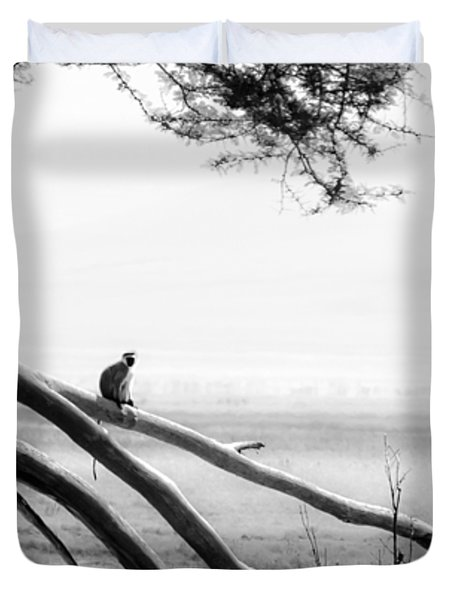 Monkey Alone On A Branch Duvet Cover by Darcy Michaelchuk