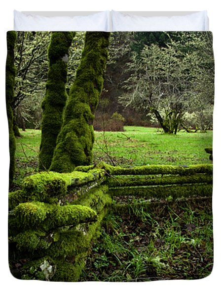 Mossy Fence 2 Duvet Cover by Bob Christopher