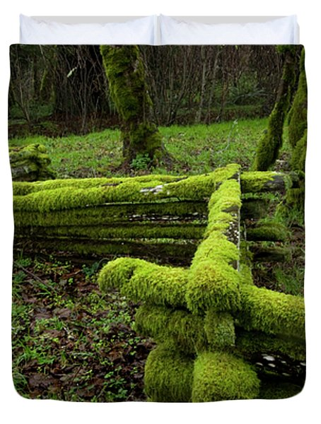 Mossy Fence 4 Duvet Cover by Bob Christopher