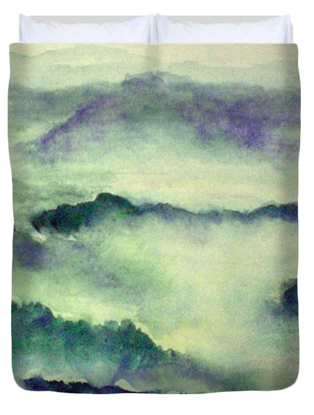 Duvet Cover featuring the painting Mountain Oriental Style by Yoshiko Mishina