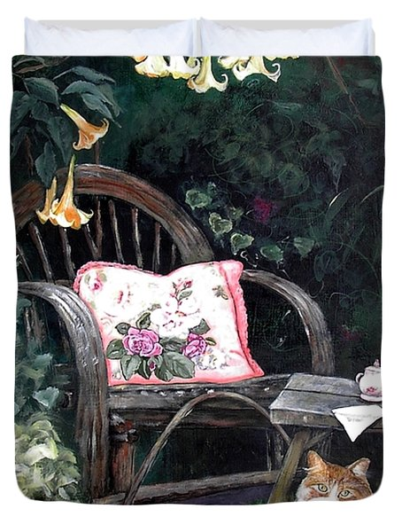Duvet Cover featuring the painting My Secret Garden by Mary-Lee Sanders