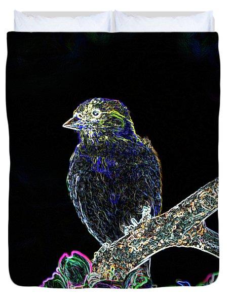 Neon Goldfinch Duvet Cover by Betty LaRue