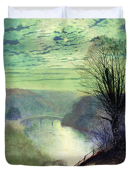 On The Tees Near Barnard Castle Duvet Cover by John Atkinson Grimshaw