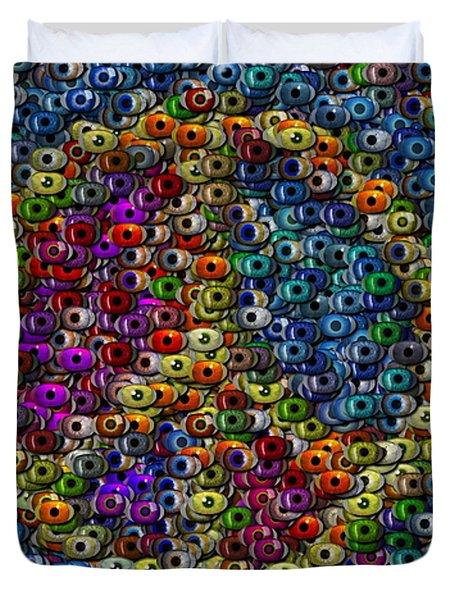 Peace Sign Eyeball Mosaic Duvet Cover by Paul Van Scott