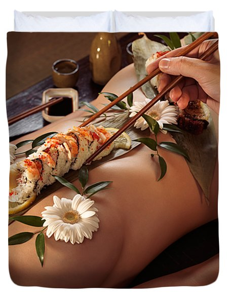 Person Eating Nyotaimori Body Sushi Duvet Cover by Oleksiy Maksymenko