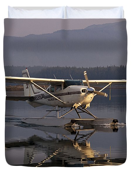 Reflections Of A Float Plane Duvet Cover by Darcy Michaelchuk