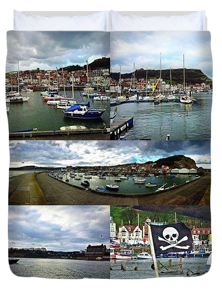 #scarborough #harbour #seaside #sea Duvet Cover by Michael Comerford