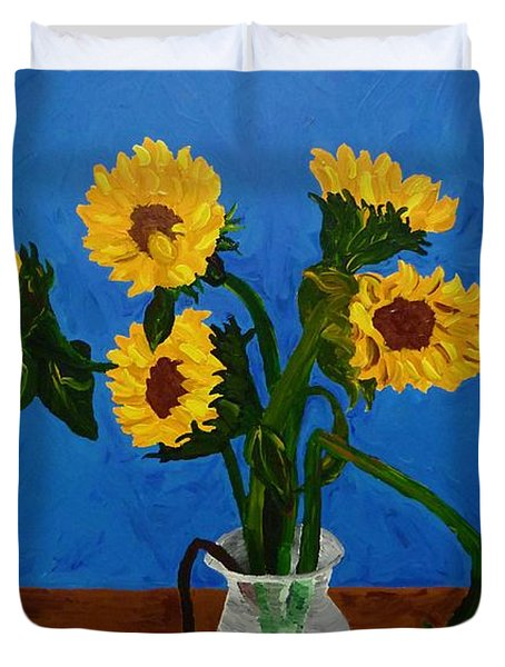 Duvet Cover featuring the painting Seven Sunflowers In Vase by Joshua Redman