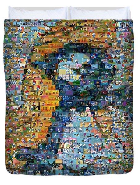 Smurfette The Smurfs Mosaic Duvet Cover by Paul Van Scott