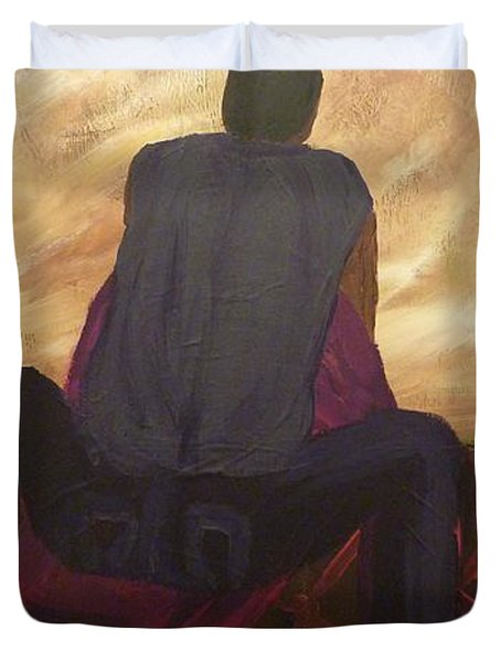 Duvet Cover featuring the painting Solitude by Joshua Redman