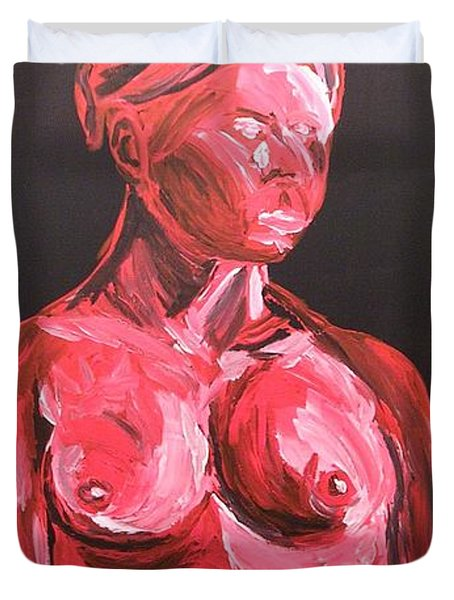 Duvet Cover featuring the painting Standing Nude In Red by Joshua Redman