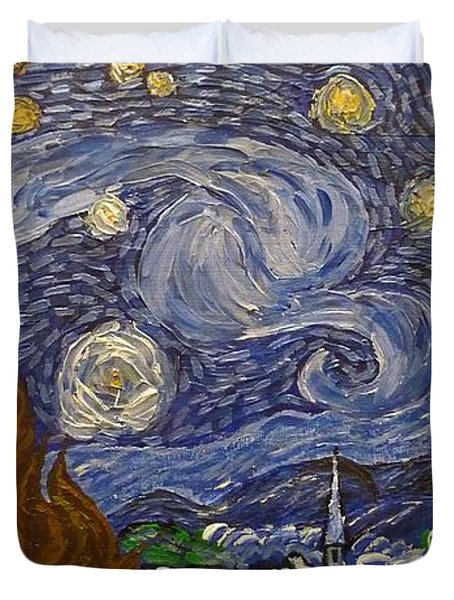Duvet Cover featuring the painting Starry Night - An Ode To Vincent by Joshua Redman