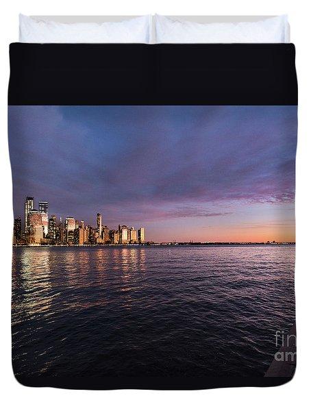Sunset On The Hudson River Duvet Cover