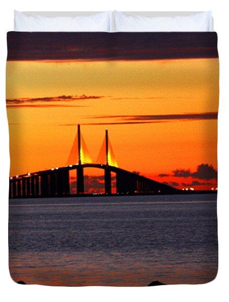 Sunset Over The Skyway Bridge Duvet Cover