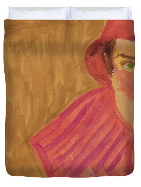 The Woman In Red Duvet Cover