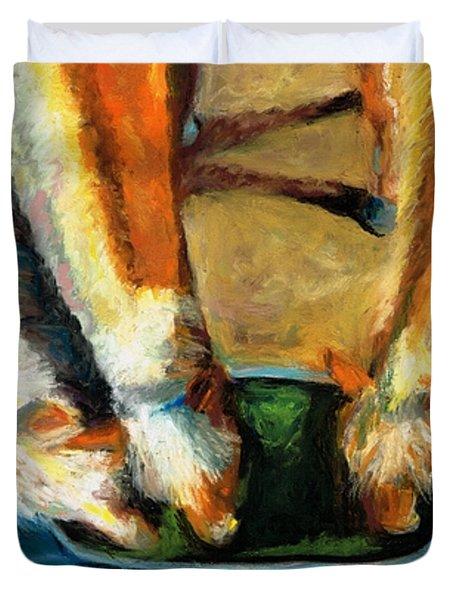 Three Palominos Duvet Cover by Frances Marino