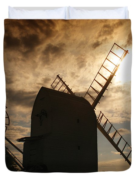 Windmill At Dusk  Duvet Cover by Pixel Chimp