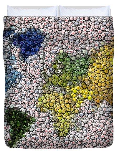 World Map Bottle Cap Mosaic Duvet Cover by Paul Van Scott