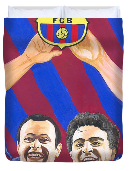 Duvet Cover featuring the painting Xavi And Iniesta by Emmanuel Baliyanga