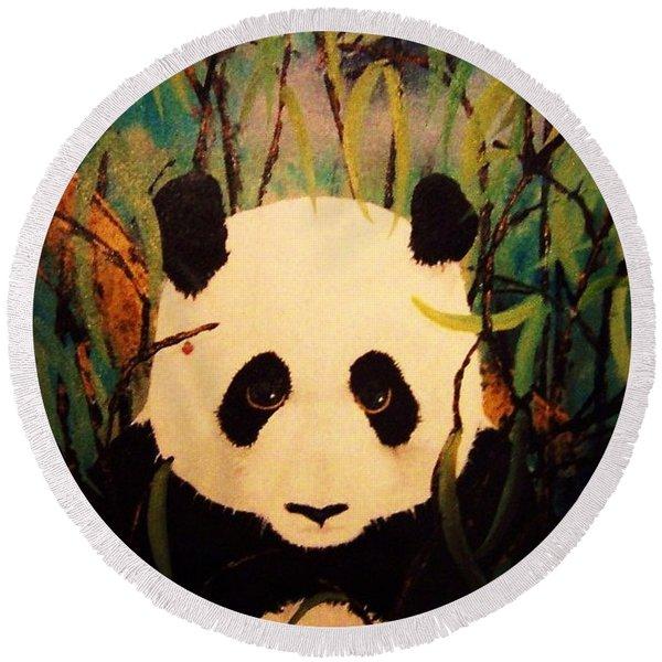Endangered Panda Round Beach Towel