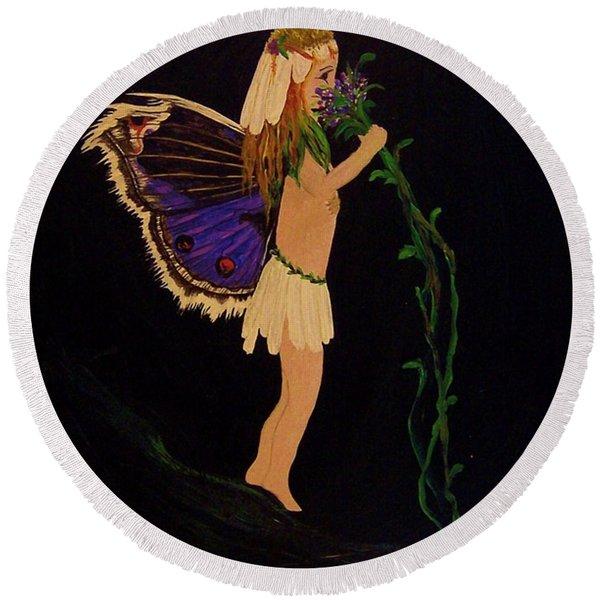 Fairy Girl Round Beach Towel