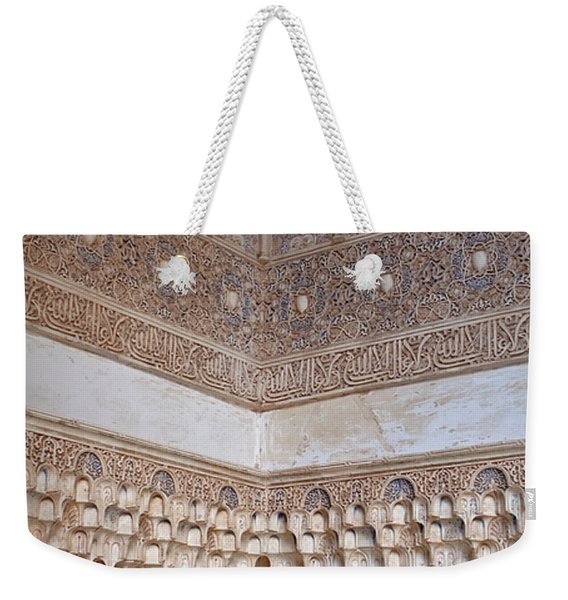 Weekender Tote Bag featuring the photograph Colorful Carved Corner by Lorraine Devon Wilke
