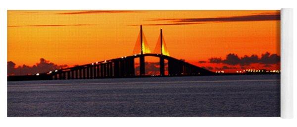 Sunset Over The Skyway Bridge Yoga Mat