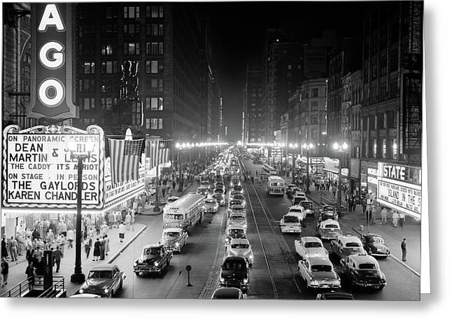 1950s 1953 Night Scene Of Chicago State Greeting Card