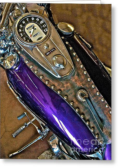 Greeting Card featuring the photograph 1953 Purple Harley Panhead by Linda Bianic