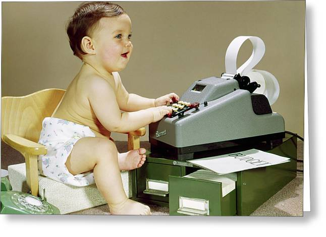 1960s Smiling Accountant Office Worker Greeting Card