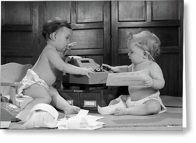 1960s Two Babies Wearing Diapers Greeting Card
