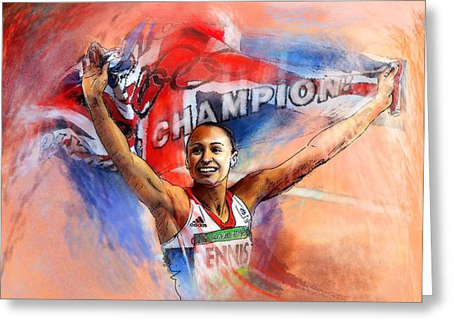 2012 Heptathlon Olympics Gold Medal Jessica Ennis  Greeting Card by Miki De Goodaboom