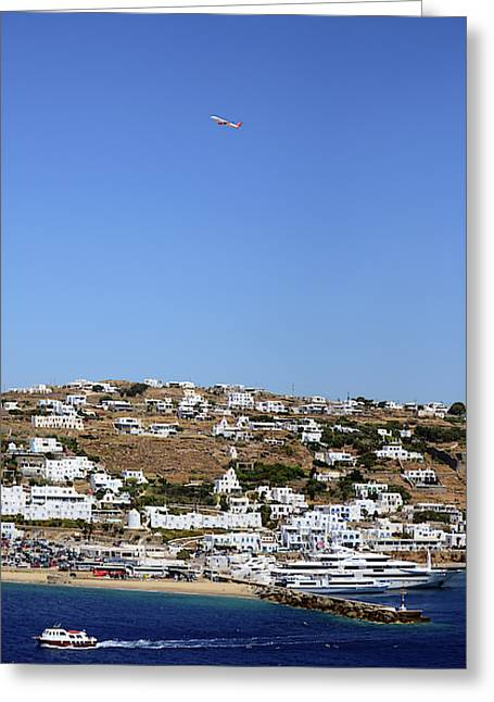 View Of Mykonos From Cruise Ship Greeting Card