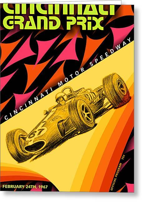 Cincinnati Grand Prix 1967 Greeting Card by Georgia Fowler